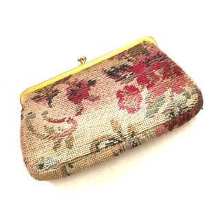 Vintage Tapestry Embroidered Floral Clutch